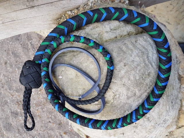 singletail whip - blue and green - dyneema